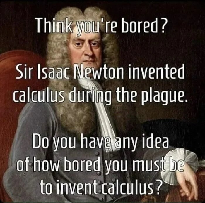 Think you're bored? Sir Isaac Newton invented calculus during the plague. Do you haveany idea, of how bored you must be to invent calculus ?