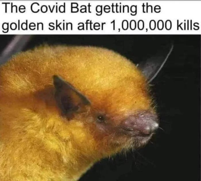 The Covid Bat getting the golden skin after 1,000,000 kills