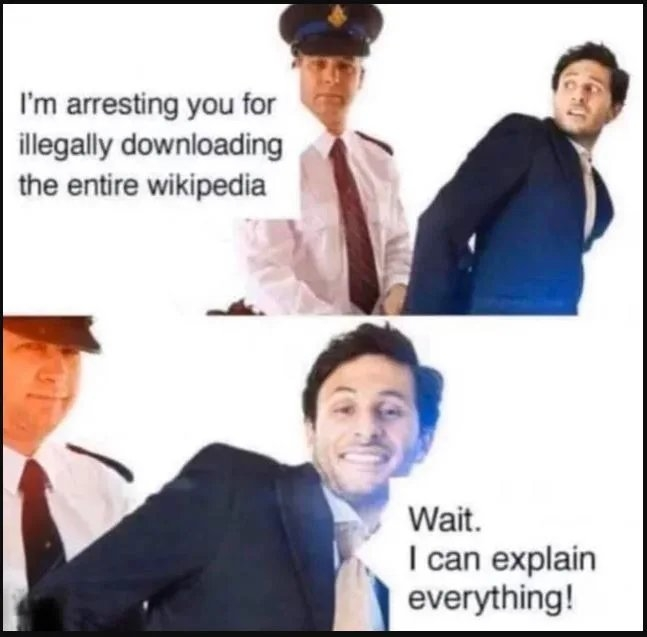 I'm arresting you for illegally downloading the entire wikipedia Wait. I can explain everything!