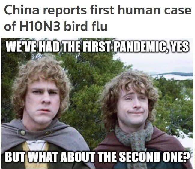 China reports first human case of H1ON3 bird flu WEVE HAD THE FIRST PANDEMIC, YES BUT WHAT ABOUT THE SECOND ONE?