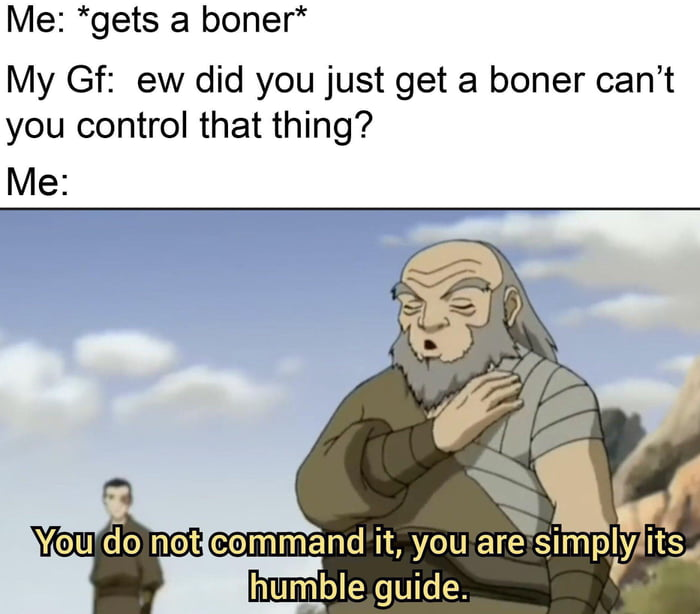 Me: *gets a boner* My Gf: ew did you just get a boner can't you control that thing? Me: You do not command it, you are simply its humble guide.