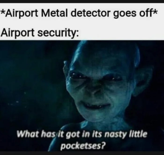 *Airport Metal detector goes off* Airport security: What has it got in its nasty little pocketses?